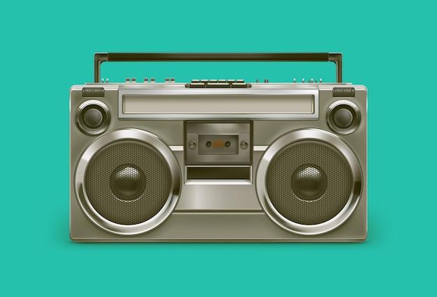 Registratore magnetico audio grigio metallo realistico retrò anni '80