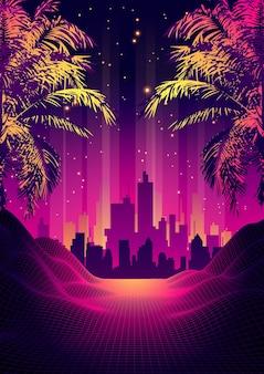 Tramonto tropicale in stile retrò anni '80 con silhouette di palme e sfondo del cielo sfumato. design retrò classico anni '80. cyber surface del paesaggio digitale.