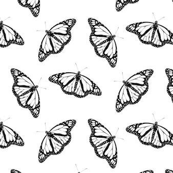 Retro primo piano astratto del modello di farfalla monarca nero su sfondo bianco. sfondo digitale.
