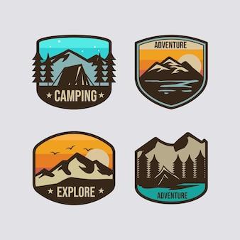 Modello di progettazione di logo di campeggio avventura retrò