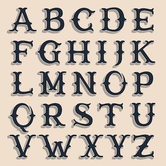 Alfabeto retrò. carattere tipografico di volume in stile occidentale vintage con ombre di linee.