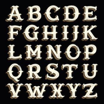 Alfabeto retrò in stile occidentale con linee ombra.