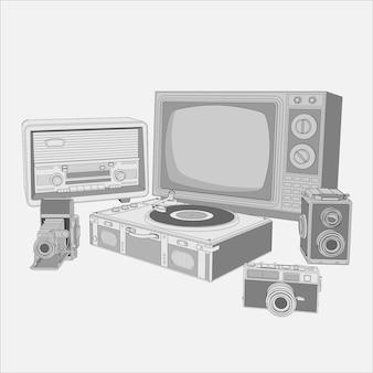Apparecchi retrò, set di macchinari vintage. collezione di radio vintage retrò, tv, macchine fotografiche, dischi in vinile giradischi.