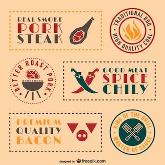 Adesivi di cibo retrò barbecue e le etichette previste