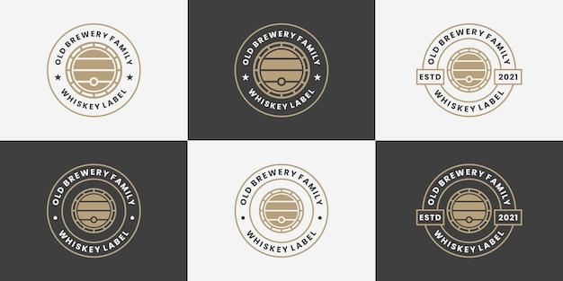 Retro barile, whisky, collezione di design del logo del birrificio