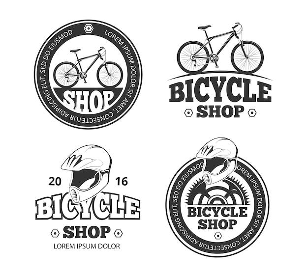 Insieme di logo del negozio di biciclette retrò