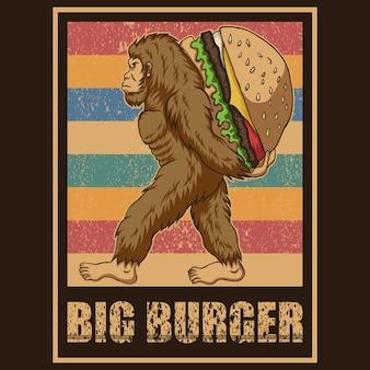 Retro illustrazione di vettore di bigfoot burger