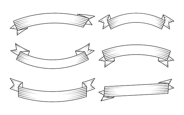 Set di nastri lineari neri retrò
