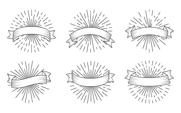 Nastri lineari neri retrò con sprazzo di sole, set. vecchio nastro vintage in stile incisione. nastri banner in bianco disegnati a mano con raggi di luce