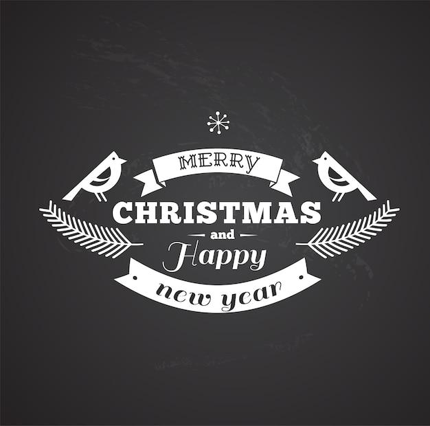 Modello in bianco e nero retrò buon natale e felice anno nuovo con due uccelli.