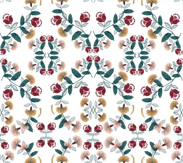 Bohemien floreale retrò, colorato modello vettoriale senza soluzione di continuità, illustrazione di stile folk disegnato a mano, design per moda, tessuto, stampe, carta da parati, avvolgimento e tutte le stampe
