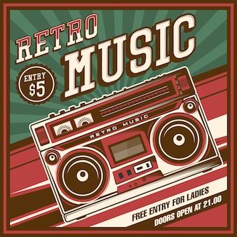 Retro boombox music tape recorder radio vecchio