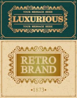 Marchio retrò e bordo di design alligrafico di lusso, elementi di design del monogramma vintage retrò, monogramma di calligrafia fiorita
