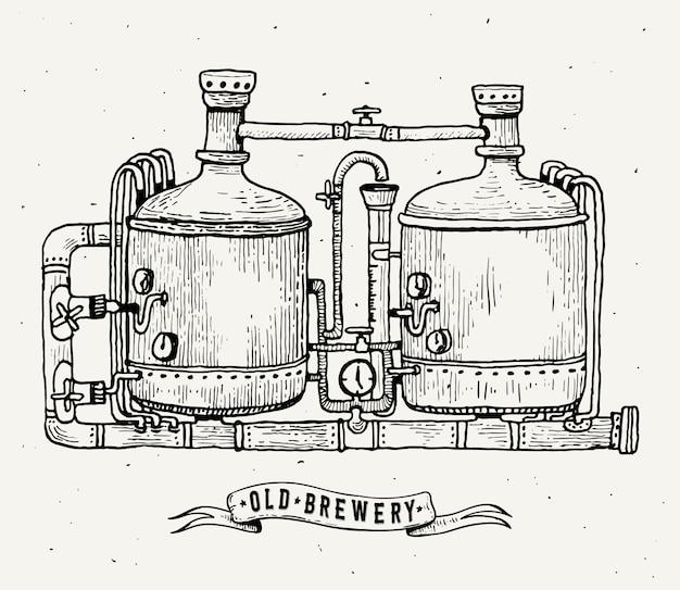 Incisione retrò birrificio. serbatoi e barili di rame nella birra del birrificio. birrificio locale.