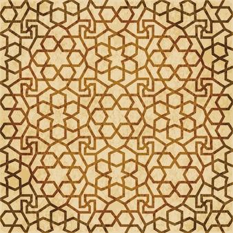 Ornamento di stile orientale del fondo del modello della geometria senza giunte di islam marrone retrò
