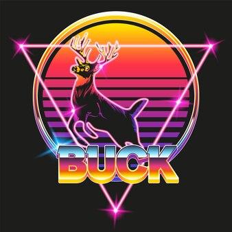 Cervo retrò con sfondo arcade retrò al neon