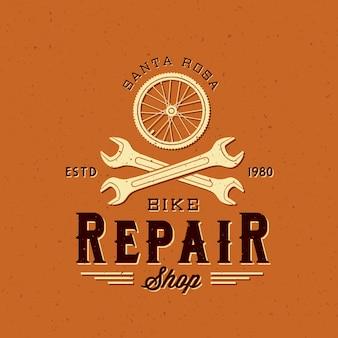Etichetta di riparazione bici retrò o modello di logo
