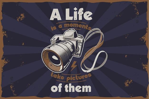 Retro illustrazione della fotocamera