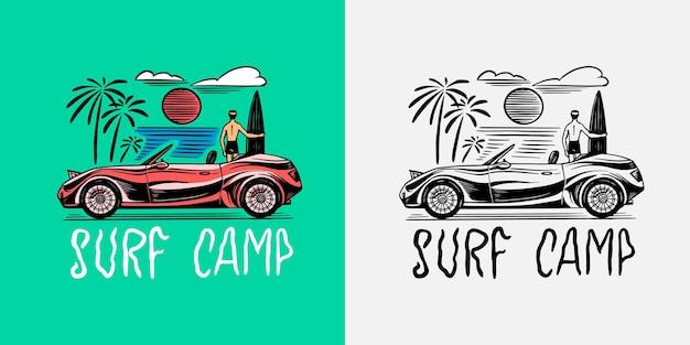 Emblema di auto retrò surf segno estate surf vintage emblema inciso poster o banner disegnato a mano