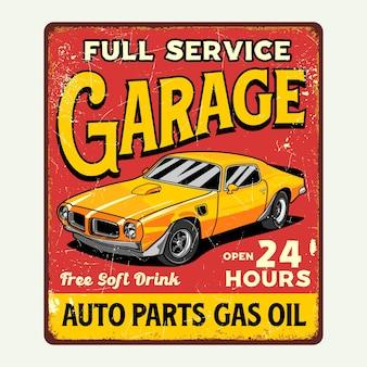Grafico del segno di poster di garage auto retrò