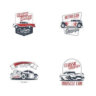 Vettore di modello di auto retrò logo. concetto classico di logo del veicolo isolato nel fondo bianco