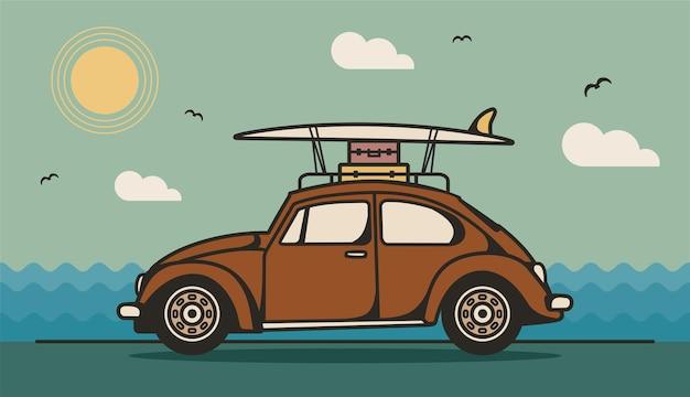 Illustrazione vettoriale di auto retrò con bagagli e tavola da surf sul tetto illustrazione linea piatta vintage