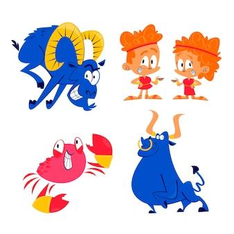 Collezione di adesivi di segni zodiacali retrò dei cartoni animati