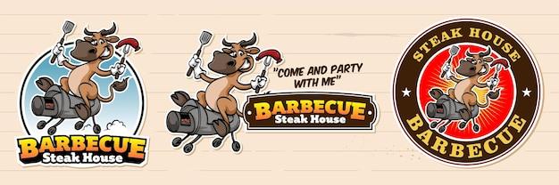 Logo barbecue retrò dei cartoni animati con mucca