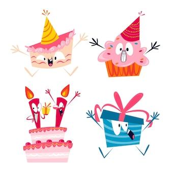 Adesivi di compleanno retrò dei cartoni animati