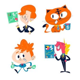 Collezione di adesivi aziendali retrò dei cartoni animati