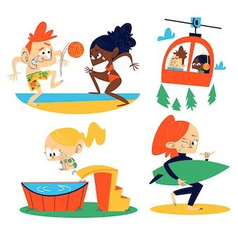 Collezione di adesivi vacanze retrò dei cartoni animati