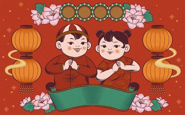 Elementi decorativi del capodanno cinese retrò con bambini che fanno il saluto del pugno e della palma su sfondo rosso