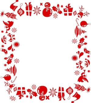 Cornice di natale retrò composta da molte icone rosse.