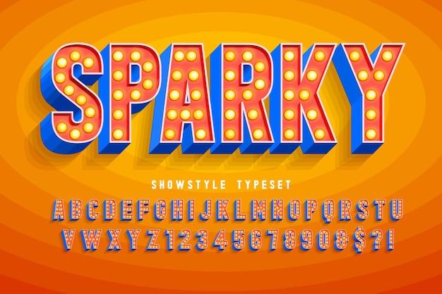 Carattere cinema retrò, cabaret, lampade lettere e numeri. controllo del colore dei campioni