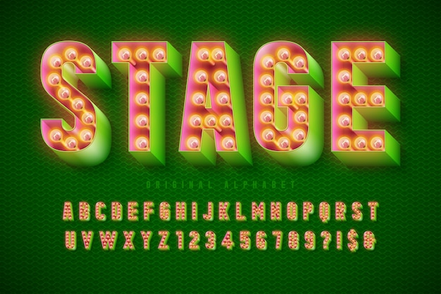 Design del carattere del cinema retrò, cabaret, lampade, lettere e numeri.