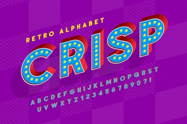 Design di font cinema retrò, cabaret, lettere di lampade a led