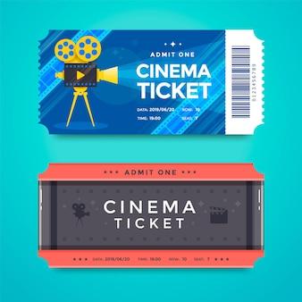 Biglietti del cinema retrò con una cinepresa e una striscia di pellicola modello vettoriale
