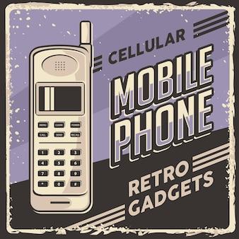 Poster di segnaletica per cellulare cellulare retrò classico gadget vintage
