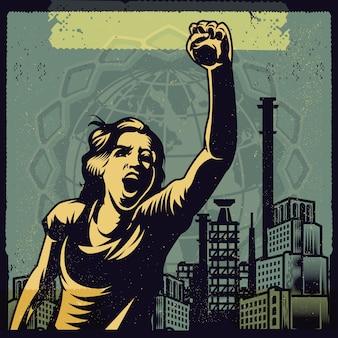 Clipart retrò di una voce femminista contro il potere