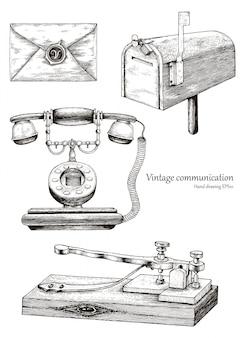 Mano retrò di apparecchiature di comunicazione disegno stile vintage