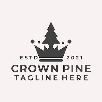 Vettore di logo di pino corona retrò