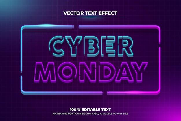 Effetto di testo modificabile retrò cyber lunedì