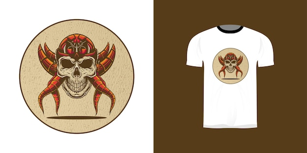 Illustrazione del cranio del cyborg retrò per il design della maglietta