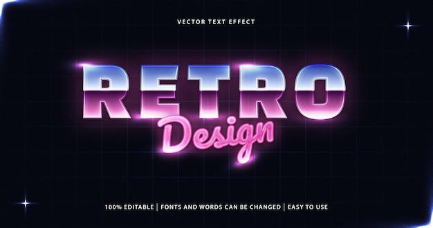 Effetto di testo modificabile in stile anni '80 dal design retrò.