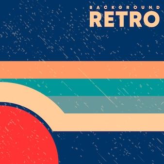 Sfondo di design retrò con texture vintage grunge e linee colorate. illustrazione vettoriale.
