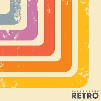 Sfondo di design retrò con texture vintage grunge e strisce colorate. illustrazione vettoriale.