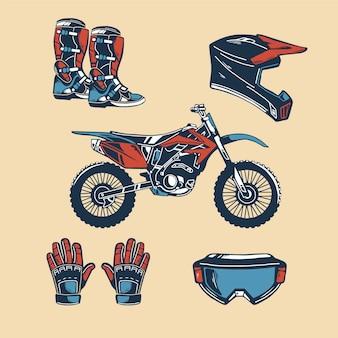 Elementi di motocross di design retrò