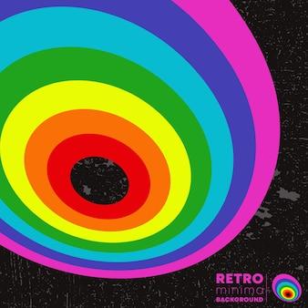 Poster di design retrò con texture vintage grunge e linee colorate. illustrazione vettoriale.