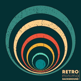 Poster di design retrò con texture vintage grunge e anelli colorati. illustrazione vettoriale.