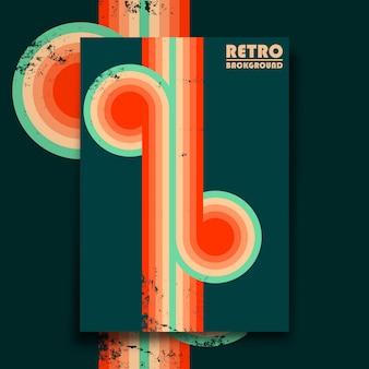 Poster di design retrò con texture vintage grunge e strisce colorate intrecciate. illustrazione vettoriale